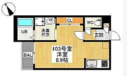 愛知県名古屋市中村区岩塚本通4の賃貸アパートの間取り