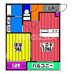 JR鹿児島本線 竹下駅 徒歩4分の賃貸アパート 1階1LDKの間取り