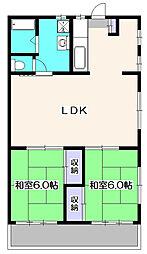東京都東久留米市中央町3丁目の賃貸アパートの間取り