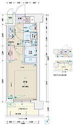 クリスタルグランツ京都西大路 7階1Kの間取り