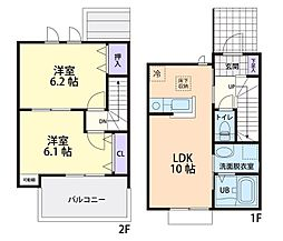 仮称)真岡市熊倉テラスハウス A棟 2階2LDKの間取り