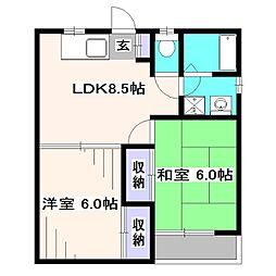 東京都西東京市下保谷1丁目の賃貸アパートの間取り