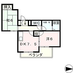 滋賀県大津市若葉台の賃貸マンションの間取り