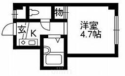 京阪本線 七条駅 徒歩6分の賃貸マンション 3階1Kの間取り