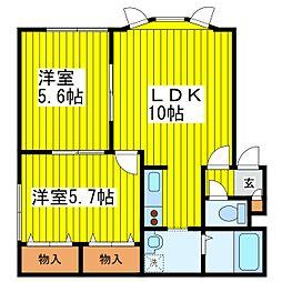 札幌市営東豊線 環状通東駅 徒歩19分の賃貸アパート 3階2LDKの間取り
