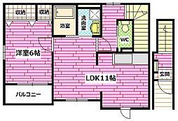 広島県安芸郡海田町月見町の賃貸アパートの間取り