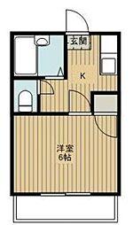 東京都新宿区神楽坂6丁目の賃貸アパートの間取り