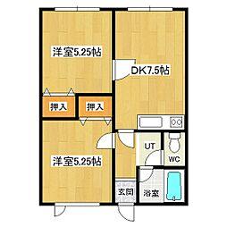 フィールドハウス[203号室]の間取り