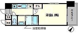 エステムコート中之島GATEII 11階1Kの間取り