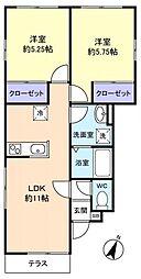フレグランス大和田[1階]の間取り