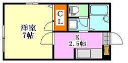 リヴェール東船橋[201号室]の間取り