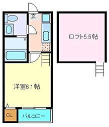 仙台市営南北線 八乙女駅 徒歩8分の賃貸アパート 2階1Kの間取り