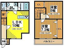 [テラスハウス] 東京都世田谷区赤堤3丁目 の賃貸【東京都 / 世田谷区】の間取り