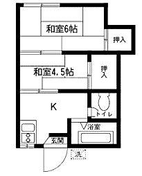南台ハイツ[2階]の間取り