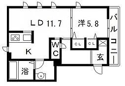 WB高見ノ里[201号室号室]の間取り