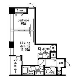 レジディアタワー麻布十番 8階1LDKの間取り