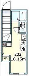 東京都大田区羽田2丁目の賃貸アパートの間取り