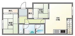 ロイヤル美田[3階]の間取り