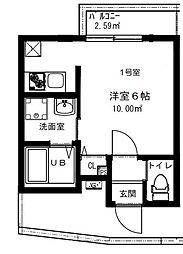 東京都品川区大井2丁目の賃貸アパートの間取り