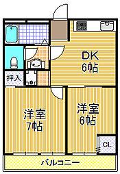 マンション白鳳[5階]の間取り