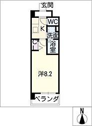 フラワーズドリームII 7階1Kの間取り