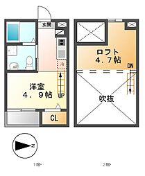 愛知県名古屋市中川区外新町2丁目の賃貸アパートの間取り