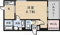 阪急千里線 北千里駅 バス7分 小野原南下車 徒歩4分の賃貸アパート 3階ワンルームの間取り