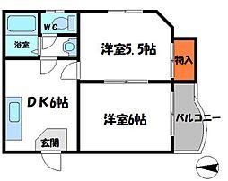 エトワルK 2階2DKの間取り