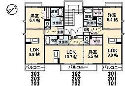 シャーメゾン東本町[302号室]の間取り