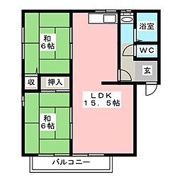 福岡県大野城市川久保2丁目の賃貸アパートの間取り