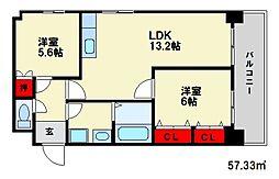 福岡県大野城市雑餉隈町5丁目の賃貸アパートの間取り