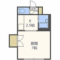 ヒュース北19B[2階]の間取り
