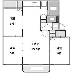 北海道札幌市豊平区月寒西四条5丁目の賃貸マンションの間取り
