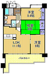 コーシャハイツ酉島[12階]の間取り