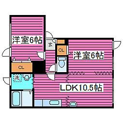 北海道石狩郡当別町末広の賃貸アパートの間取り
