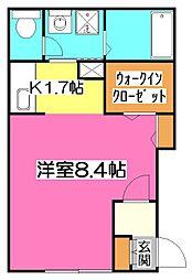 メゾンブリュ−ジュ[1階]の間取り