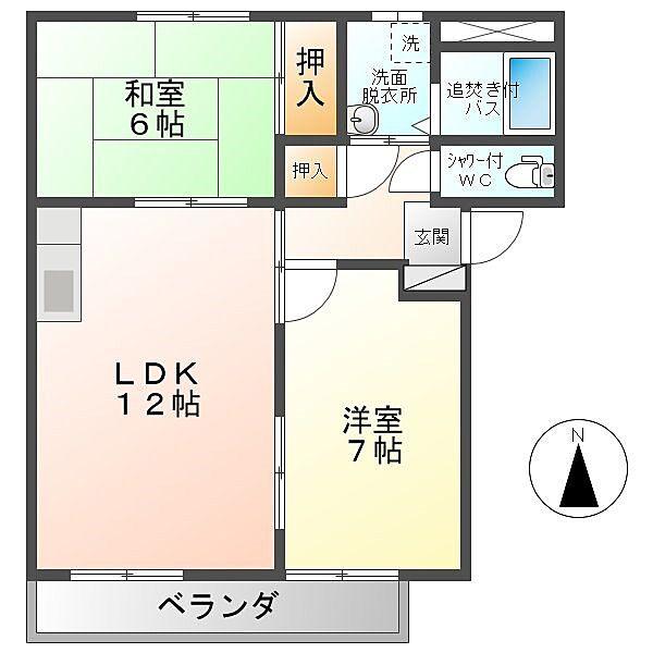 長野県上田市古里の賃貸アパートの間取り