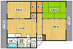 倉西コーポ[3階]の間取り