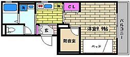 兵庫県西宮市屋敷町の賃貸アパートの間取り