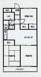 東京都羽村市五ノ神4丁目の賃貸マンションの間取り