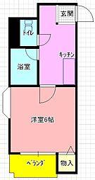 花園ダイヤコーポ[2階]の間取り