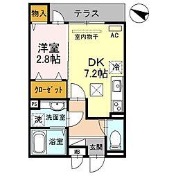 阪神本線 青木駅 徒歩4分の賃貸アパート 1階1DKの間取り