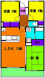 静岡県浜松市中区中島2丁目の賃貸マンションの間取り