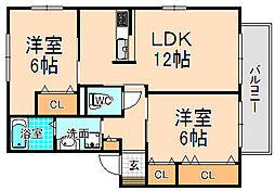 兵庫県伊丹市梅ノ木3丁目の賃貸アパートの間取り