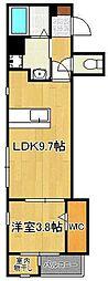 ラ・シャンテ 5階1LDKの間取り