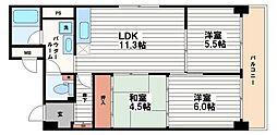 大阪府大阪市中央区内平野町2丁目の賃貸マンションの間取り