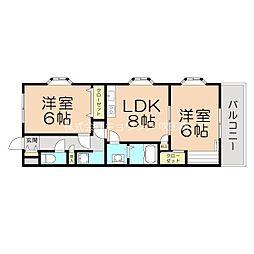 阪急京都本線 相川駅 徒歩5分の賃貸マンション 3階2LDKの間取り