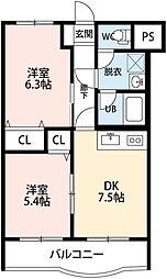 新潟県新潟市中央区南出来島1丁目の賃貸マンションの間取り