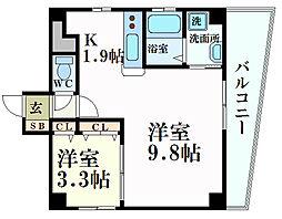 JR山陽本線 広島駅 徒歩4分の賃貸マンション 4階1LDKの間取り