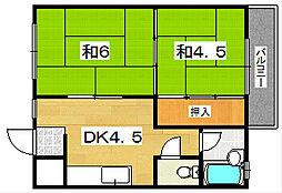 大阪府枚方市東船橋1丁目の賃貸マンションの間取り